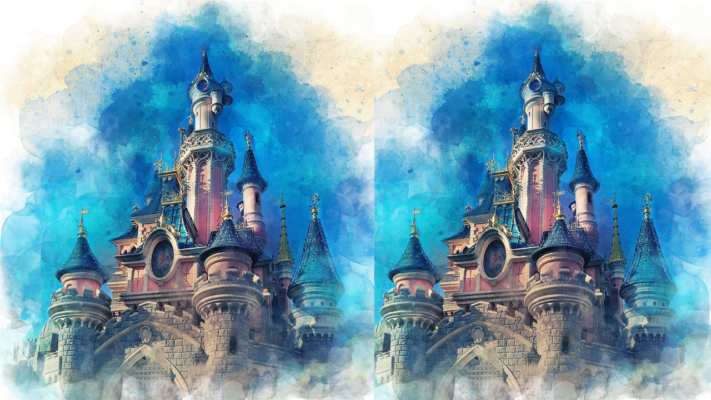 Two storybook castles—Can AI write stories?