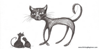 A sketch of a cat with kittens
