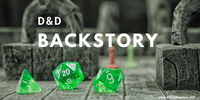 Three green dice on a role playing game board—How To Write a D&D Backstory