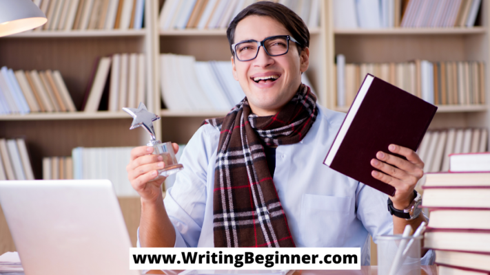 Man holding a book and award—How to Make Money on Writers Work