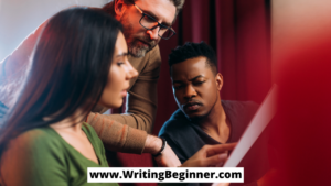 Three people looking at a screenplay—Is WeScreenplay Coverage Worth It